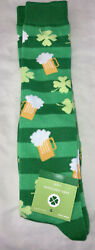 NWT Novelty Knee High Socks St Patrick's Day Shamrocks amp; Beer Shoe SZ 4 10 $10.00