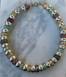 Cadoro Lucite Vintage Necklace Signed Mid Century Silver Tone Spacer Bead $63.00