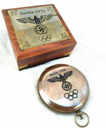 Brass Berlin 1936 Olympic compass push button compass antique with box $22.79