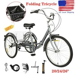 20 24 26quot; Foldable Adult 7 Speed Tricycle 3 Wheels Trike Bicycle W Large Basket $239.99