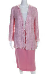 Emanuel Ungaro Womens Tweed Solid High Waist Pencil Skirt Suit Set Pink Size M $62.01