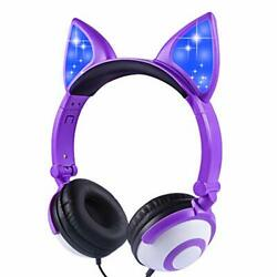 Kids Headphones Cat Ear for Girls Boys Tablet School Supplies Gifts Wired Light $19.88