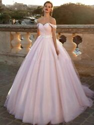 Pink Wedding Ball Dresses Glitter Tulle Off Shoulder With Laced Back Party Dress