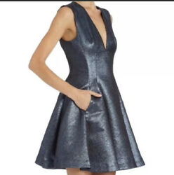 Opening Ceremony Metallic Hope Flare Dress Cocktail Size 2 Sleeveless Blue $59.99