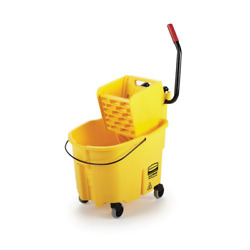 Rubbermaid Commercial Products Mop Bucket WaveBrake 35 Qt. Plastic with Wringer