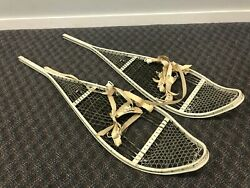 Vintage MILITARY SNOW SHOES Aluminum pair winter wall art white metal snowshoes $75.00
