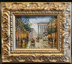 Small Mini Vintage Antique Oil Painting On Board Beautiful Gold Frame $145.00