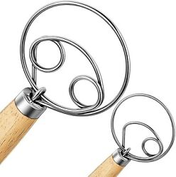 Nlmyt 2Pcs Danish Dough Whisk Dutch Whisks Wooden Danish Whisk 13 Inch Premiu $18.90