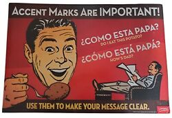 Spanish Accents Funny Novelty Teacher Language Poster Teacher#x27;s Discovery $6.00