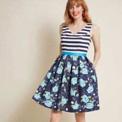Modcloth Intriguing on Arrival Fit amp; Flare Navy Striped and Floral Dress Medium $30.00