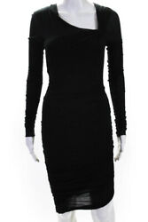 Helmut Lang Womens Long Sleeve Asymmetrical Neckline Ruched Dress Black Petite $89.99