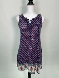 About a Girl Womens Sleeveless Lace Up Floral Dress Blue Size XS $6.99