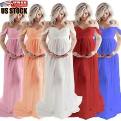 Pregnant Women Off Shoulder Lace Long Maxi Dress Maternity Prop Split Gown Dress $9.99