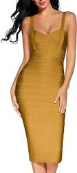 Madam Uniq Women#x27;s Straps Bodycon Bandage Dress Club Celebrity Dresses