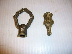 ANTIQUE 2 BRASS SPANISH FINIALS TOP AND BOTTOM FOR CHANDELIER SCONCE LAMP PARTS $26.00
