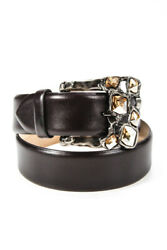 Di Stefano Womens Calf leather Jeweler Buckle Silk Lined Belt Brown Size 32 $41.01