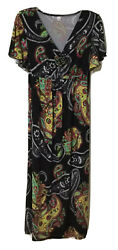 Unbranded Women Maxi Size M Short Sleeve Multicolor Flowers Printed Long Dress $10.50