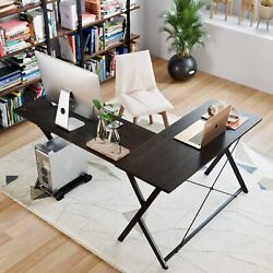 L Shaped Computer Gaming Desk Laptop Workstation Metal Table Home Office Black $68.99