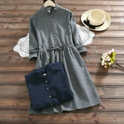 Polka Dot Long Sleeved Dress Elegant Gray Navy Blue Green Spring Trendy Dresses $33.24