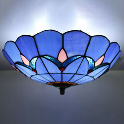 Tiffany Floral Flush Mount Lamp Stained Glass Vintage Kitchen Ceiling Light $99.99