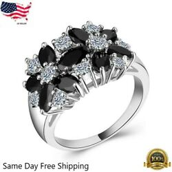 Women Fashion 925 Silver Jewelry Black Sapphire Wedding Party Ring Size 6 10