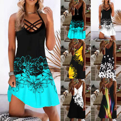 Plus Size Women#x27;s Sleeveless Floral Boho Maxi Dress Casual Loose Long Dresses $23.93