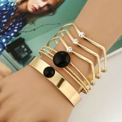 Geometric Multilayer Wire Bangle Trendy Maxi Opened Resin Cuff Bracelet Jewelry $18.98