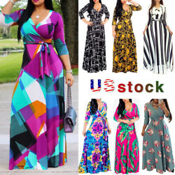Womens Lady Bohemia Long Maxi Dress Cocktail Party Evening Summer Beach Sundress $14.98