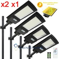 2x 985000LM Dusk to Dawn Solar Commercial Street Light Sensor Road Lamp IP67