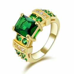 Trendy Size 6 11 Luxury Engagement Emerald 18K Gold Filled Rings For Women Gift $9.99