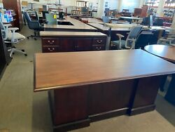Executive Traditional Desk amp; Credenza Set in Cherry finish Wood $848.00