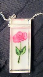 Vintage Retro 1950#x27;s Lucite Pink Rose Pendant amp; Silver Chain Rectangle Shaped $4.99