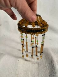 Antique Glass Beaded Fringed Shade as found Will need some beads reattached $35.00