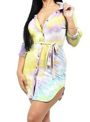 Medium tie dye dress for Women Multicolor spring trendy dresses sexy hot style $24.99