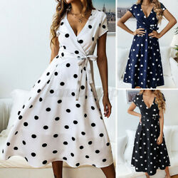 ZANZEA Women Lace Up Short Sleeve Dress Polka Dot Ladies Evening Party Dresses $15.63