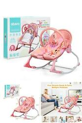 Adjustable Infant Rocker Bouncer Baby Rocking Chair Toddler w Hanging Toys Pink $64.30