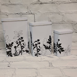 3 IKEA Metal Tin Containers Kitchen Bins Canisters Coffee Black and White Floral $25.00