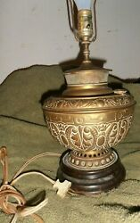 ANTIQUE BRASS JUNO OIL LAMP STYLE ELECTRIC table lamp $375.00