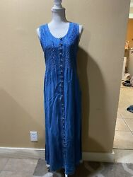 Vintage Raya Sun Size M Denim Look Full Button Emroidered Dress $29.99