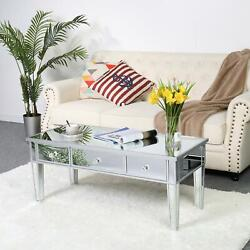 Mirrored Coffee Cocktail Table Silver Finish Accent Table W Drawers Furniture $152.90