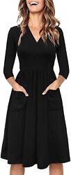 Berydress Black Dresses for Women 3 4 Sleeve Casual Dress Wrap V Neck Wedding Gu