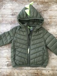 BABY BOYS COAT PUFFER Dinosaur 18 to 23 Months Green with Yellow Spikes Warm GBP 9.97