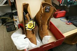 Justin Men#x27;s Steel Toe Work Boots 12D #764 8quot; Lace Up USA Made Double Comfort $139.99