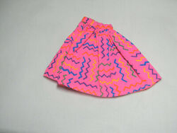 BARBIE DOLL SIZE PURPLE TAG BRIGHT PINK FLURRY SKIRT COLORED ZIGZAW LINES PRINT $3.25