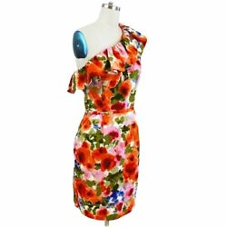 Eliza J One Shoulder Multicolor Floral Cocktail Dress Size 8 $39.99