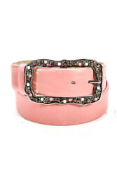 Di Stefano Womens Calf Leather Jewelry Buckle Silk Lined Belt Pink Size 32 $41.01
