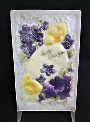 Antique Easter Novelty Postcard Celluloid Fuzzy Fabric and Velvet Germany $14.99