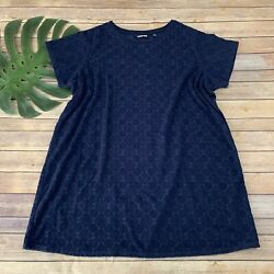 Lands End Womens Cover Up Shift Dress Plus Size 2x Navy Blue Terry Cloth $29.99
