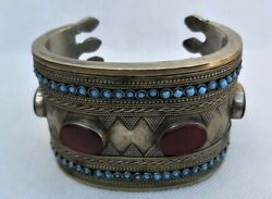 Very Unique Antique Viking Bronze Carved Bangle Huge Bracelet With Ancient Agate $240.99