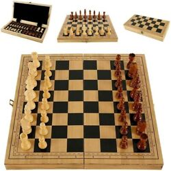 39 X 39 Vintage Wooden Chess Set Wood Board Hand Carved Crafted Folding Game US $28.69